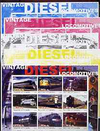 Somalia 2002 Diesel Locomotives #3 imperf sheetlet containing set of 9 values, the set of 5 progressive proofs comprising the 4 individual colours plus all 4-colour composite (as issued) all unmounted mint