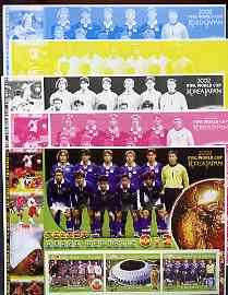 Somalia 2002 Football World Cup (Poland v Korea) large sheetlet containing 3 values, the set of 5 progressive proofs comprising the 4 individual colours plus all 4-colour composite (as issued) all unmounted mint