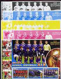 Somalia 2002 Football World Cup (Spain v Korea) large sheetlet containing 3 values, the set of 5 progressive proofs comprising the 4 individual colours plus all 4-colour composite (as issued) all unmounted mint