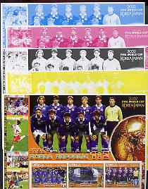 Somalia 2002 Football World Cup (Italy v Korea) large sheetlet containing 3 values, the set of 5 progressive proofs comprising the 4 individual colours plus all 4-colour composite (as issued) all unmounted mint