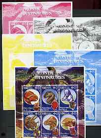 Benin 2002 World of Dinosaurs (& Minerals) imperf sheetlet containing set of 6 values each with Scout Logo, the set of 5 progressive proofs comprising the 4 individual colours plus all 4-colour composite (as issued) all unmounted mint