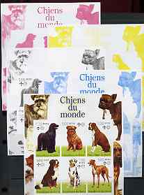 Benin 2002 World of Dogs imperf sheetlet containing set of 6 values each with Scout Logo, the set of 5 progressive proofs comprising the 4 individual colours plus all 4-colour composite (as issued) all unmounted mint