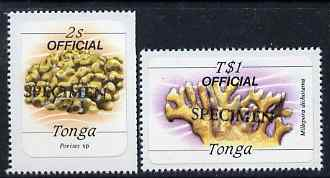 Tonga 1984 Marine Life (Coral) self-adhesive 2s & T$1 opt'd OFFICIAL additionally opt'd SPECIMEN unmounted mint as SG O221 & O233*