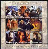 Congo 2004 Lord of the Rings - Return of the King perf sheetlet containing 9 values unmounted mint