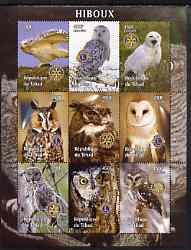 Chad 2004 Owls perf sheetlet containing 9 values each with Rotary or Lions Int Logos unmounted mint