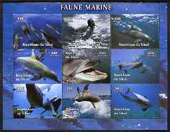 Chad 2004 Marine Animals perf sheetlet containing 9 values unmounted mint