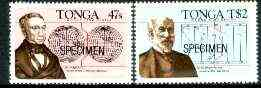 Tonga 1984 International Dateline self-adhesive set of 2 opt'd SPECIMEN (Sir Sandford Flemming, Sir George Airy & Maps) as SG 888-89 (blocks or gutter pairs with map pro rata) unmounted mint