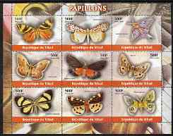Chad 2004 Butterflies perf sheetlet containing 9 values unmounted mint