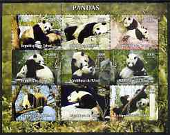 Chad 2004 Pandas perf sheetlet containing 9 values unmounted mint