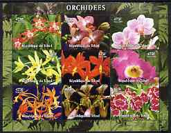 Chad 2004 Orchids perf sheetlet containing 9 values unmounted mint