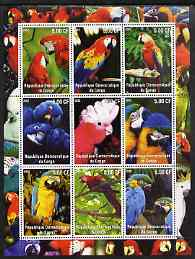 Congo 2002 Parrots perf sheetlet containing 9 values unmounted mint