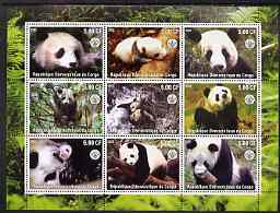 Congo 2002 Pandas perf sheetlet containing 9 values each with Scout Logo unmounted mint