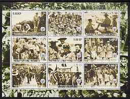 Congo 2002 Baden Powell perf sheetlet containing 9 values each with Scout Logo unmounted mint