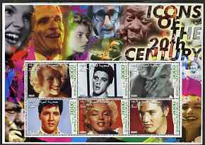 Somalia 2001 Icons of the 20th Century #01 - Elvis & Marilyn perf sheetlet containing 6 values with Churchill, Queen Mother, Luther King & Satchmo in background fine cto used