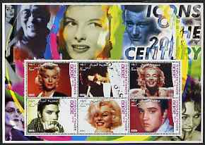 Somalia 2001 Icons of the 20th Century #02 - Elvis & Marilyn perf sheetlet containing 6 values with John Wayne in background fine cto used