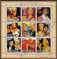 Ivory Coast 2002 Marilyn Monroe 40th Death Anniversary #2 perf sheetlet containing 9 values fine cto used