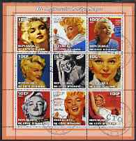 Ivory Coast 2002 Marilyn Monroe 40th Death Anniversary #3 perf sheetlet containing 9 values fine cto used