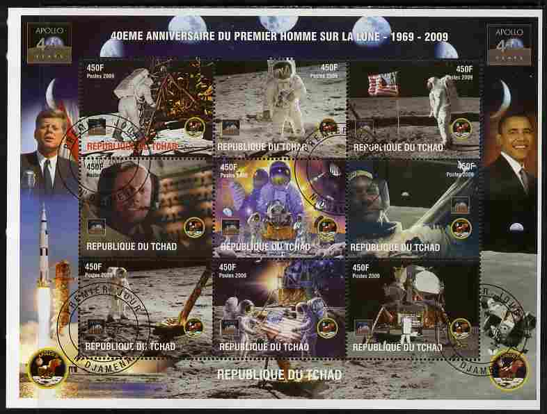 Chad 2009 40th Anniversary of Moon Landing perf sheetlet containing 9 values cto used