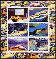 Benin 2003 Nudes in Art #02 imperf sheetlet containing 6 values unmounted mint (works by Magritte x 2, Ray, Delvaux x 2 & Ernst)