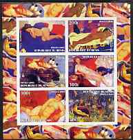 Benin 2003 Nudes in Art #03 imperf sheetlet containing 6 values unmounted mint (works by Vallotton, Gauguin, B\9Acklin, Glackens, Larionov & Rousseau)