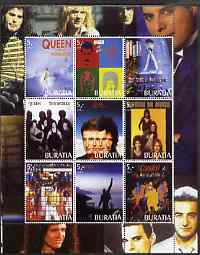 Buriatia Republic 2003 Queen (Pop Group) perf sheetlet containing set of 9 values unmounted mint