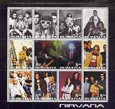 Buriatia Republic 2001 Nirvana perf sheetlet containing 12 values unmounted mint