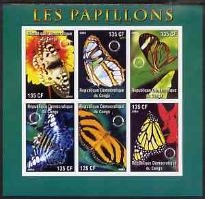 Congo 2003 Butterflies imperf sheetlet #01 (green border) containing 6 values each with Rotary Logo, unmounted mint