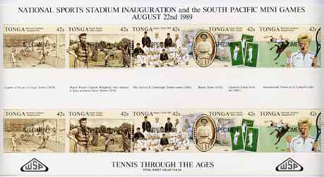 Tonga 1989 Sports Stadium (Tennis through the Ages) sheetlet opt'd SPECIMEN unmounted mint, as SG 1045a
