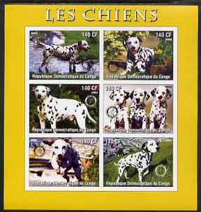 Congo 2003 Dogs (Dalmations) imperf sheetlet #01 (yellow border) containing 6 values each with Rotary Logo, unmounted mint