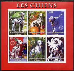 Congo 2003 Dogs (Dalmations) imperf sheetlet #02 (red border) containing 6 values each with Rotary Logo, unmounted mint