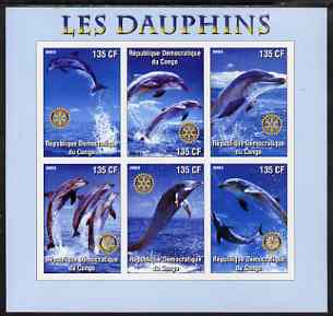 Congo 2003 Dolphins imperf sheetlet #01 (vertical stamps) containing 6 values each with Rotary Logo, unmounted mint
