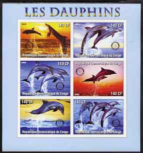 Congo 2003 Dolphins imperf sheetlet #02 (horiz stamps) containing 6 values each with Rotary Logo, unmounted mint
