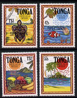 Tonga 1991 Heilala Week set of 4 opt'd SPECIMEN (Turtle, Fish & Fruit), as SG 1130-33 unmounted mint*
