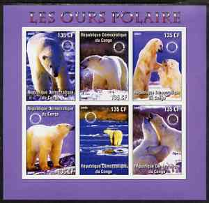 Congo 2003 Polar Bears imperf sheetlet #02 (violet border) containing 6 values each with Rotary Logo, unmounted mint