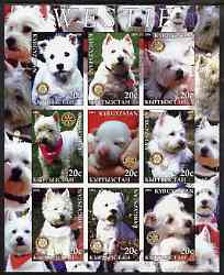 Kyrgyzstan 2004 Dogs - Westies imperf sheetlet containing 9 values each with Rotary Logo, unmounted mint
