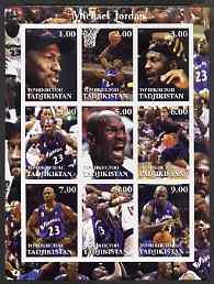 Tadjikistan 2001 Michael Jordan imperf sheetlet containing complete set of 9 values unmounted mint, stamps on personalities, stamps on basketball, stamps on sport