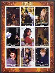Congo 2001 Harry Potter imperf sheetlet containing 9 values unmounted mint