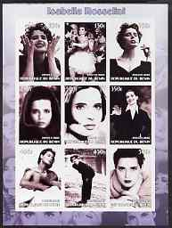 Benin 2002 Isabella Rossellini imperf sheetlet containing 9 values unmounted mint