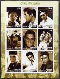 Benin 2002 Elvis Presley imperf sheet containing set of 9 values unmounted mint