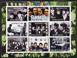 Kyrgyzstan 2001 The Beatles #2 imperf sheetlet containing set of 9 values unmounted mint