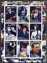 Turkmenistan 2001 Tribute to George Harrison imperf sheetlet containing 9 values unmounted mint