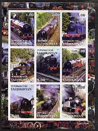 Tadjikistan 2001 Steam Locos imperf sheetlet containing 9 values unmounted mint