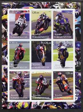 Turkmenistan 2001 Racing Motorcyclists imperf sheetlet containing set of 9 values, unmounted mint