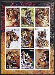 Turkmenistan 2001 Tigers imperf sheetlet containing 9 values unmounted mint