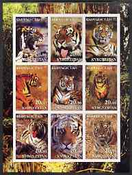 Kyrgyzstan 2001 Tigers imperf sheetlet containing 9 values unmounted mint