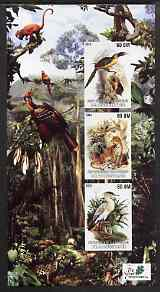 Mauritania 2003 The Nature Conservancy #1 imperf sheetlet containing set of 3 values (Birds & Animals by John Audubon) unmounted mint