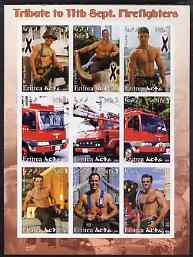 Eritrea 2003 Tribute to 11th Sept Fire-Fighters imperf sheetlet containing set of 9 values unmounted mint