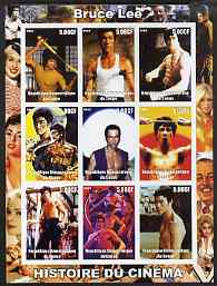 Congo 2003 History of the Cinema #01 imperf sheetlet containing 9 values unmounted mint (Showing Bruce Lee)