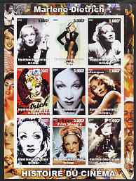 Congo 2003 History of the Cinema #02 imperf sheetlet containing 9 values unmounted mint (Showing Marlene Dietrich)