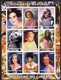 Congo 2003 History of the Cinema #04 (Actresses) imperf sheetlet containing 9 values unmounted mint (Showing Jane Fonda, Lauren Bacall, Audrey Hepburn, Greta Garbo, Grace Kelly, Ursula Andress, Bette Davis, Liz Taylor & Marilyn)